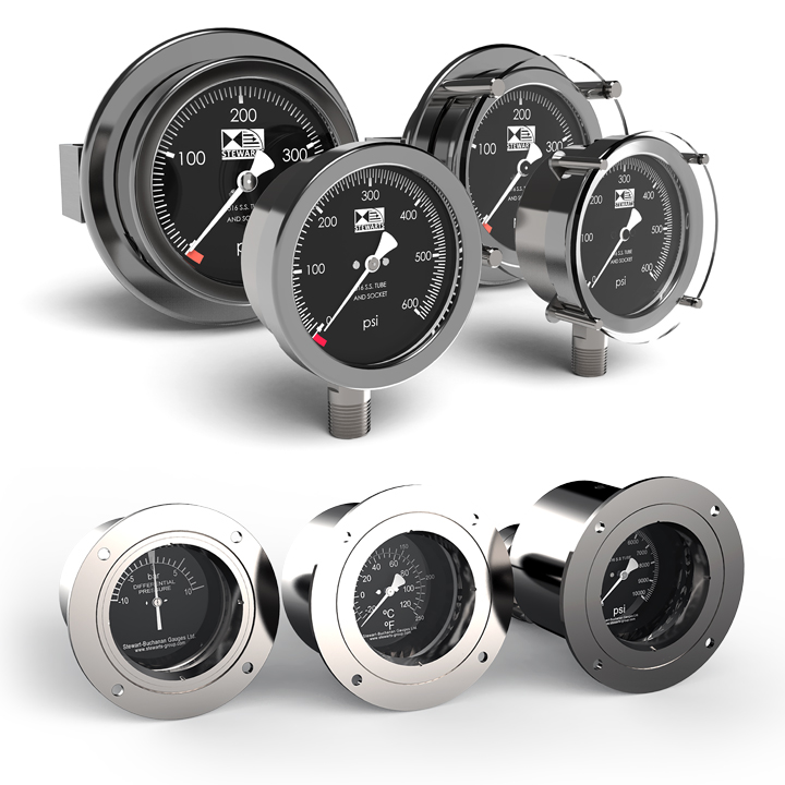 The Stewarts Group manufacture a range of Compensated and Non Compensated subsea pressure gauges