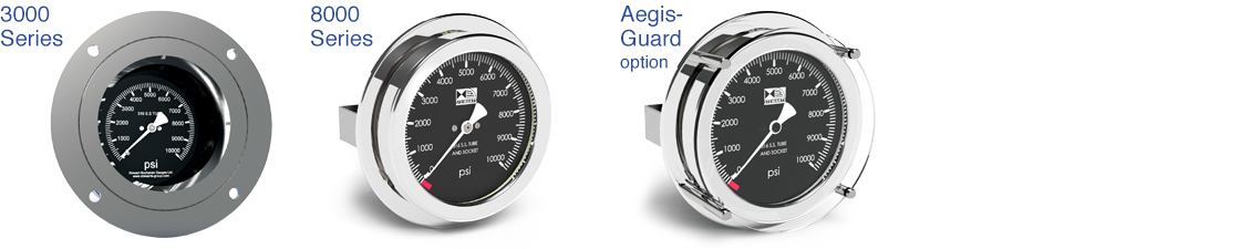 The range of Subsea Pressure Gauges available from The Stewarts Group