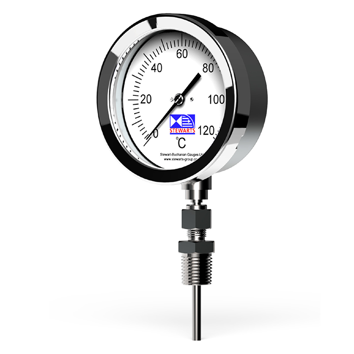 The Stewarts Group manufacture a range of Bi Metal Rigid Stem Stainless Steel & Inert Gas Distant Reading Stainless Steel thermometers