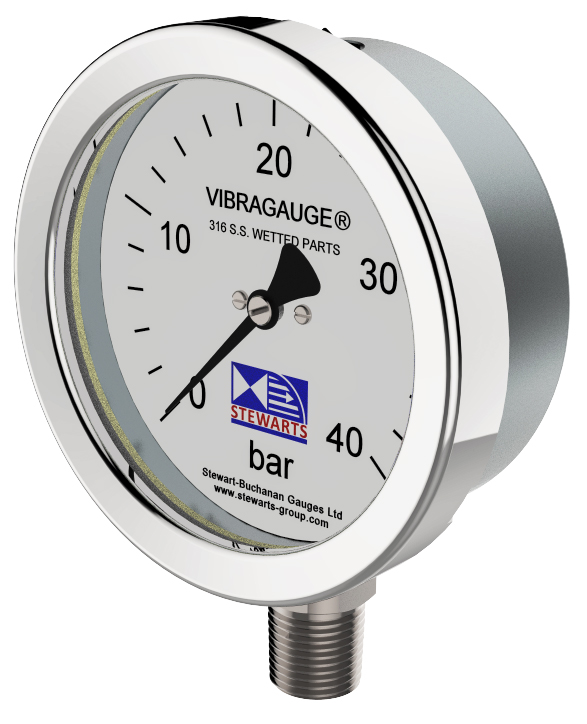Stewarts innovative VIBRAGAUGE® technology addresses excess vibration in pressure gauges